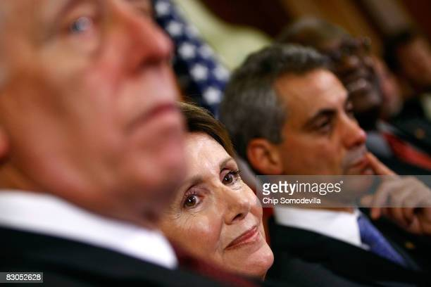 Speaker of the House Nancy Pelsoi attends a news conference with Majority Leader Steny Hoyer and Rep Rahm Emanuel on Capitol Hill September 29 2008...
