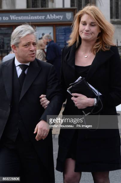 Speaker of the House of Commons John Bercow and his wife Sally as they leave the funeral of former Labour MP and cabinet minister Tony Benn at St...