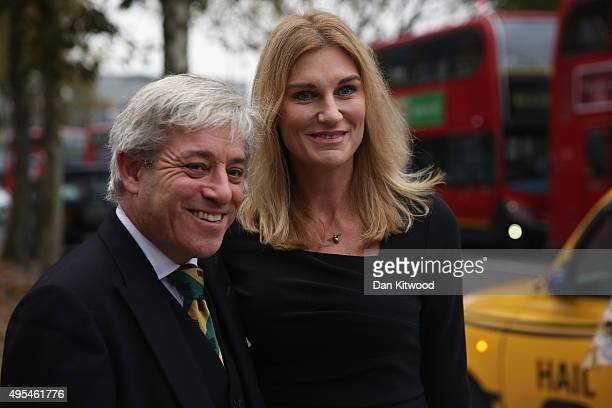 Speaker of the House of Commons John Bercow and his wife Sally Bercow stop for a photograph as they arrives at St Georges Cathedral for a memorial...