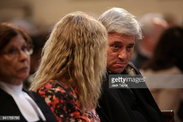 Speaker of the House of Commons John Bercow and his wife Sally Bercow attend the remembrance service for Jo Cox at St Margaret's church on June 20...