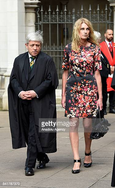 Speaker of the House of Commons John Bercow and his wife Sally Bercow leave following the remembrance service for Jo Cox at St Margaret's church in...