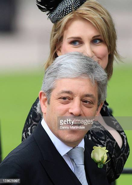 Speaker of the House of Commons John Bercow and wife Sally Bercow arrive to attend the Royal Wedding of Prince William to Catherine Middleton at...