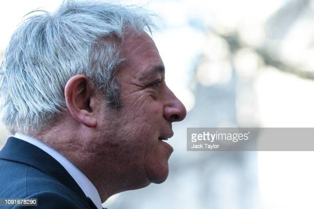Speaker of the House of Commons John Bercow arrives for a memorial service for Conservative Peer Lord Carrington at Westminster Abbey on January 31...
