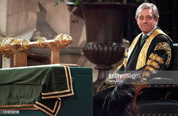 Speaker of the House of Commons John Bercow attends an address by Queen Elizabeth II at Westminster Hall on March 20 2012 in London England Following...