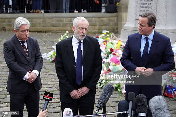 Speaker of the House of Commons John Bercow Labour Leader Jeremy Corbyn and Prime Minister David Cameron pay their respects near to the scene of the...
