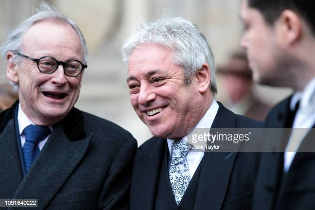 Speaker of the House of Commons John Bercow leaves following a memorial service for Conservative Peer Lord Carrington at Westminster Abbey on January...