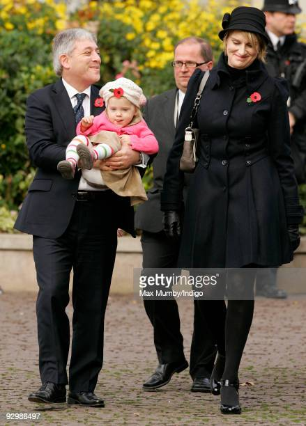 Speaker of the House of Commons John Bercow MP daughter Jemima Bercow and wife Sally Illman attend the Armistice Day service at Westminster Abbey on...
