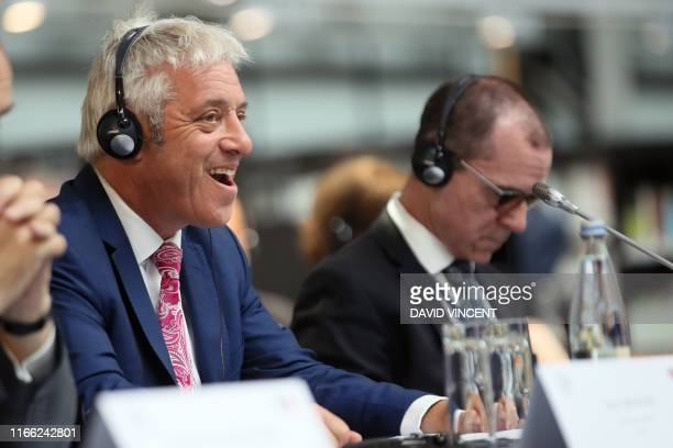 Speaker of the House of Commons John Bercow reacts as he attends a meeting during the G7 parliaments summit in Brest western France on September 6...