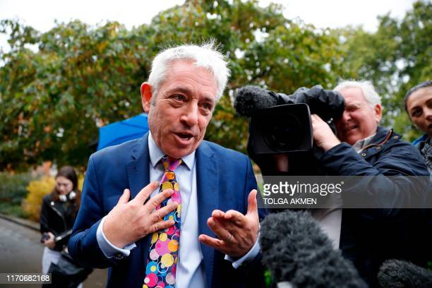 Speaker of the House of Commons John Bercow speaks to the media outside the Houses of Parliament in central London on September 24 2019 after the...
