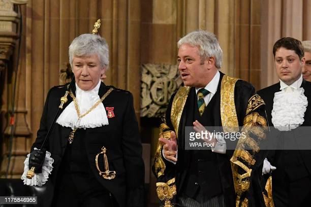 Speaker of the House of Commons John Bercow speaks with Lady Usher of the Black Rod Sarah Clarke as they process through the Central Lobby to the...