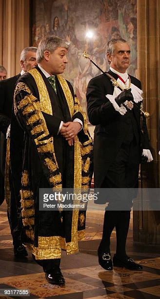 Speaker of The House of Commons John Bercow walks with The Gentleman Usher of the Black Rod Sir Freddie Viggers during the State Opening of...