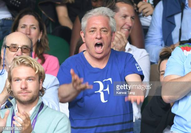 Speaker of the House of Commons of the United Kingdom John Bercow on Centre Court on Men's Finals Day of the Wimbledon Tennis Championships at All...