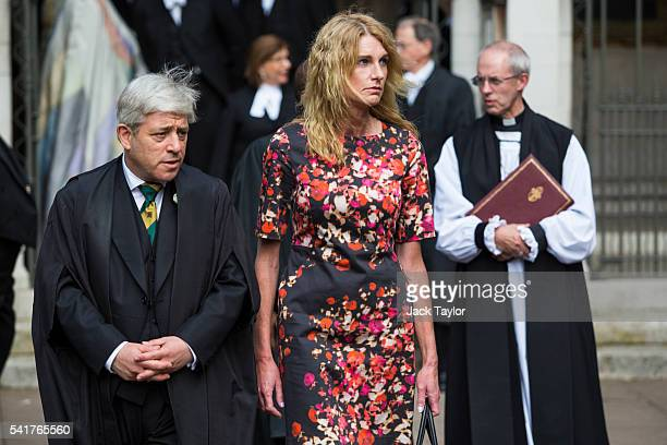Speaker of the House of Commons Simon Bercow his wife Sally Bercow and The Archbishop of Canterbury Justin Welby leave following a remembrance...