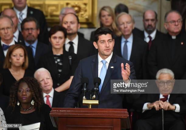 Speaker of the house Paul Ryan addresses the crowd as the body of lateSen John S McCain lies in state during a ceremony to honor the sixterm senator...
