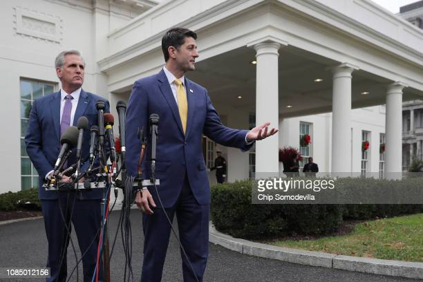 Speaker of the House Paul Ryan and House Majority Leader Kevin McCarthy talk to journalists after meeting with US President Donald Trump at the White...