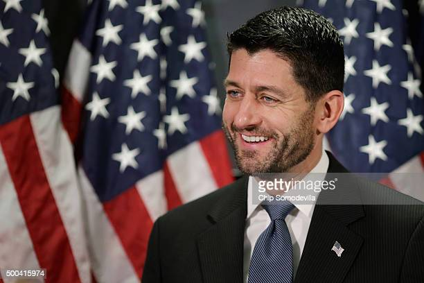 Speaker of the House Paul Ryan and members of the House GOP leadership hold a news briefing following the weekly Republican Conference meeting at the...