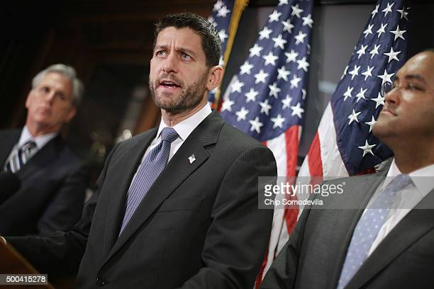 Speaker of the House Paul Ryan and members of the House GOP leadership including Majority Leader Kevin McCarthy and Rep Will Hurd hold a news...