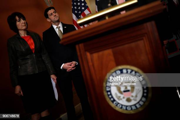 Speaker of the House Paul Ryan and Rep Cathy McMorris Rodgers at left look on at a news conference at the US Capitol January 18 2018 in Washington DC...