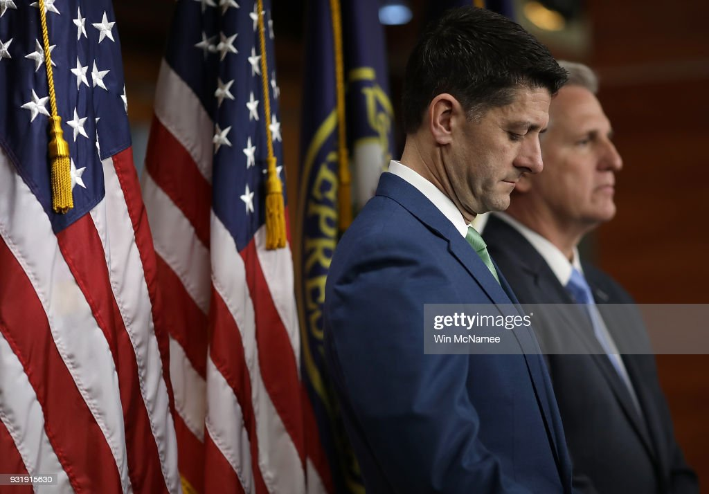 U.S. Speaker of the House Paul Ryan (L) (R-WI) and Rep. Kevin McCarthy (R) (R-CA) attend a press conference at the U.S. Capitol on March 14, 2018 in Washington, DC. Ryan answered questions on congressional efforts to make schools safer, and on the recent special election in Pennsylvania.