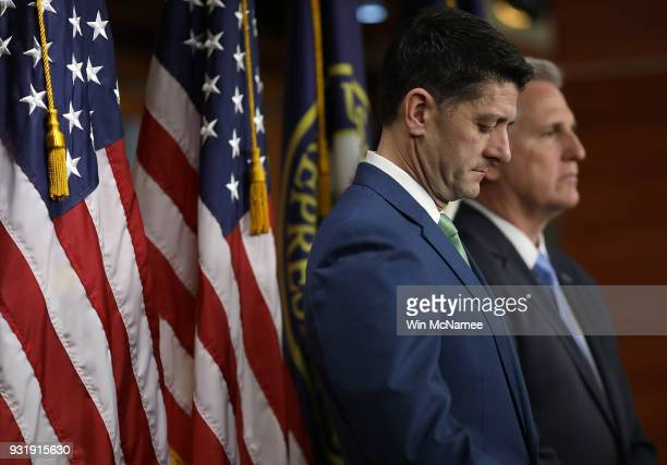 S Speaker of the House Paul Ryan and Rep Kevin McCarthy attend a press conference at the US Capitol on March 14 2018 in Washington DC Ryan answered...