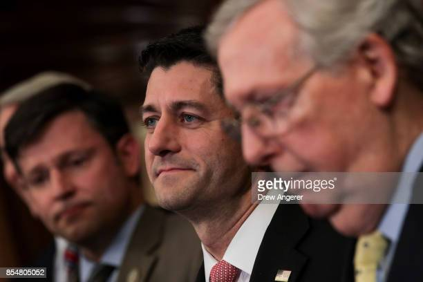 Speaker of the House Paul Ryan and Senate Majority Leader Mitch McConnell looks on during a press event to discuss their plans for tax reform...