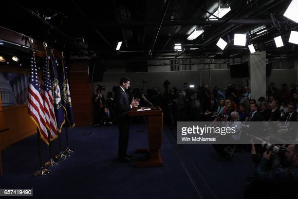 S Speaker of the House Paul Ryan answers questions at a press conference at the US Capitol after President Trump's healthcare bill was pulled from...