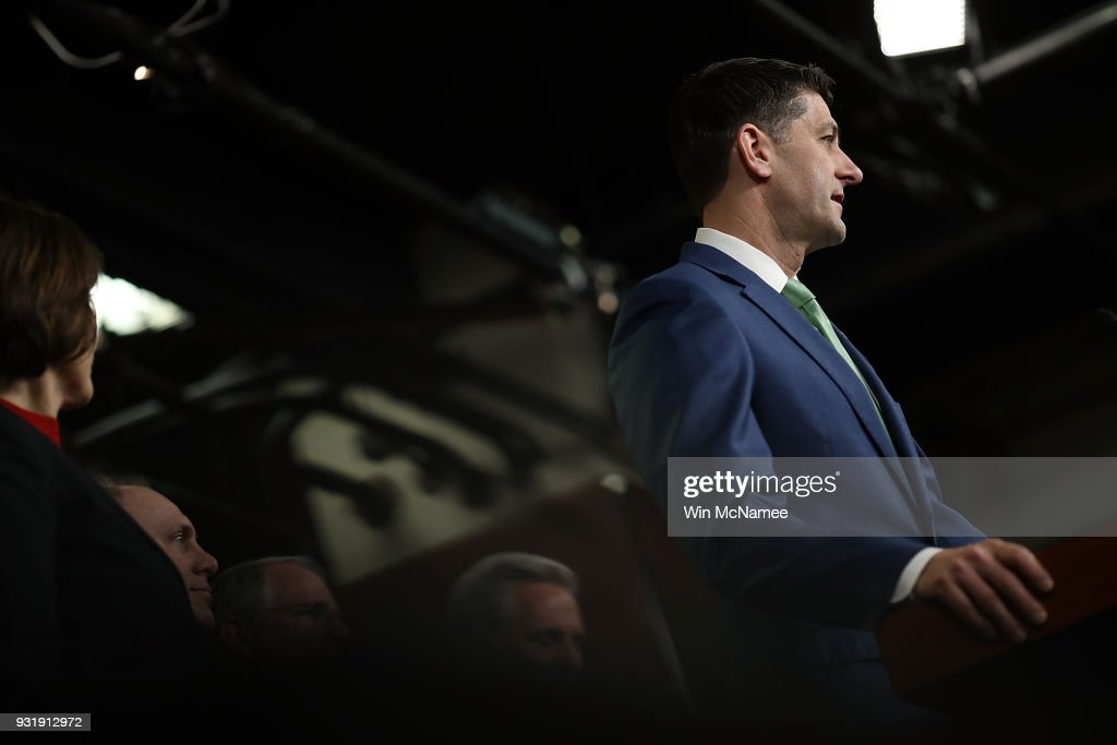 U.S. Speaker of the House Paul Ryan (R-WI) answers questions during a House Leadership press conference at the U.S. Capitol on March 14, 2018 in Washington, DC. Ryan answered questions on congressional efforts to make schools safer, and on the recent special election in Pennsylvania.