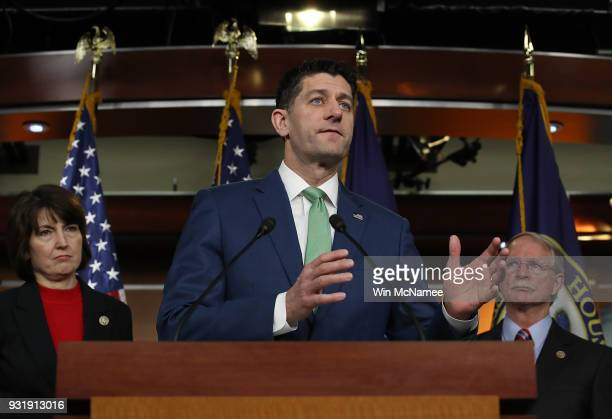 S Speaker of the House Paul Ryan answers questions during a House Leadership press conference at the US Capitol on March 14 2018 in Washington DC...