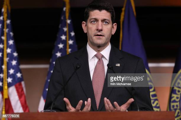 S Speaker of the House Paul Ryan answers questions during a press conference at the US Capitol December 7 2017 in Washington DC Ryan answered a range...