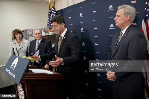 S Speaker of the House Paul Ryan answers questions during a press conference with members of the House Republican leadership October 11 2017 in...