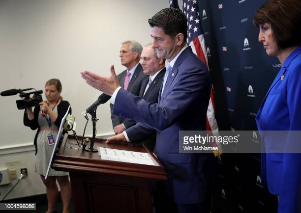 S Speaker of the House Paul Ryan answers questions during a weekly press conference with Republican House leaders at the US Capitol July 24 2018 in...