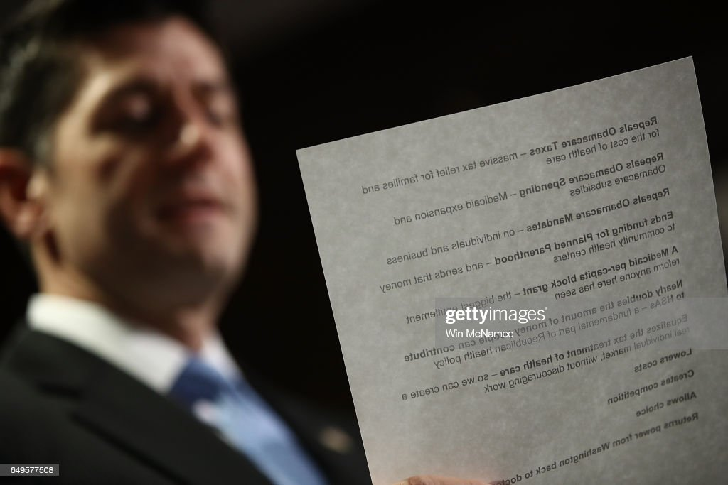 U.S. Speaker of the House Paul Ryan (R-WI) answers questions following a meeting of the House Republican caucus March 8, 2017 in Washington, DC. Ryan answered questions on the newly released American Healthcare Act, the proposed Republican replacement for the Affordable Care Act.