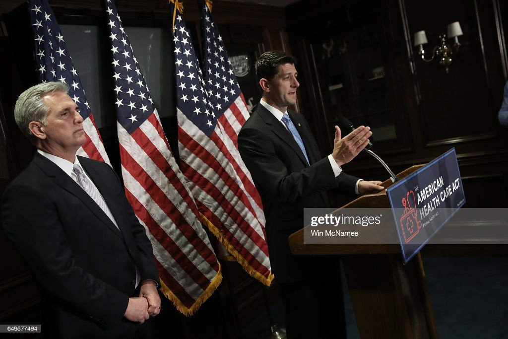 U.S. Speaker of the House Paul Ryan (R-WI) (R) answers questions with House Majority Leader Kevin McCarthy (L) during a press conference following a meeting of the House Republican caucus March 8, 2017 in Washington, DC. Ryan answered questions on the newly released American Healthcare Act, the proposed Republican replacement for the Affordable Care Act.