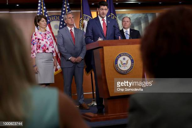 Speaker of the House Paul Ryan answers reporters' questions during a news conference with Rep Cathy McMorris Rodgers Majority Leader Kevin McCarthy...