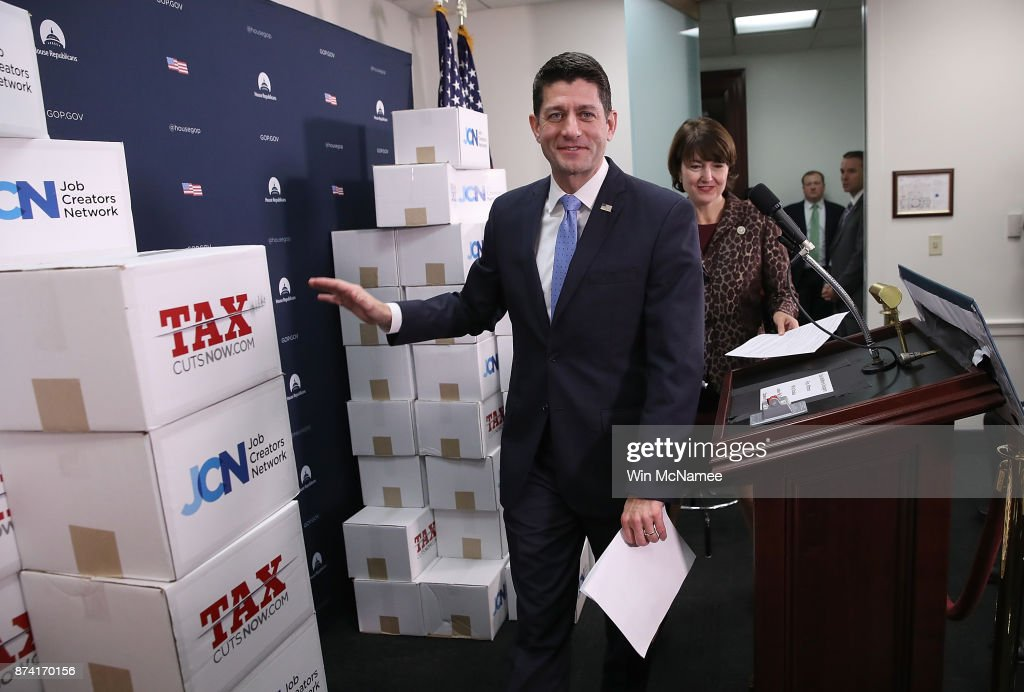 Speaker of the House Paul Ryan (R-WI) arrives for a press conference following a weekly meeting of the House Republican caucus November 14, 2017 in Washington, DC. Republicans plan to bring their version of a tax reform bill to the House floor for a vote on Thursday of this week.