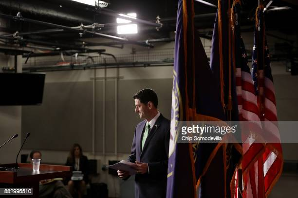 Speaker of the House Paul Ryan arrives for his weekly news conference in the US Capitol Visitors Center November 30 2017 in Washington DC Ryan said...