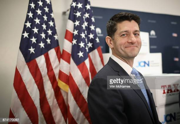 Speaker of the House Paul Ryan attends a press conference following a weekly meeting of the House Republican caucus November 14 2017 in Washington DC...