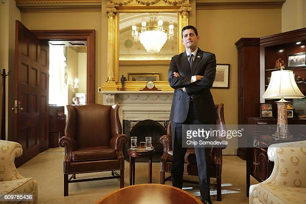 Speaker of the House Paul Ryan awaits the arrival of Australian Prime Minister Malcolm Turnbull in his office at the US Capitol September 22 2016 in...
