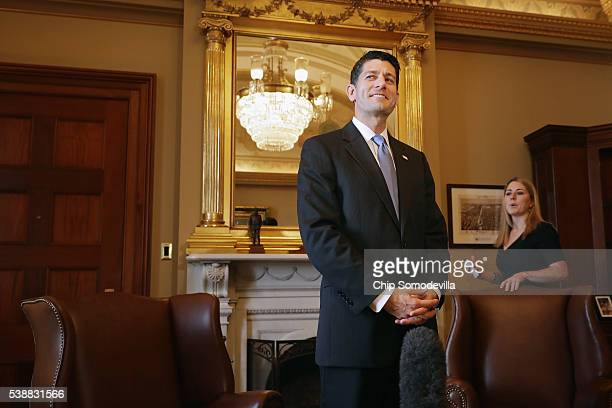 S Speaker of the House Paul Ryan awaits the arrival of Indian Prime Minister Narendra Modi in the Speaker's office in the US Capitol June 8 2016 in...