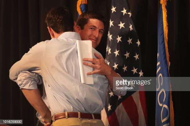 Speaker of the House Paul Ryan campaigns with Republican congressional candidate Bryan Steil at a rally on August 13 2018 in Burlington Wisconsin...