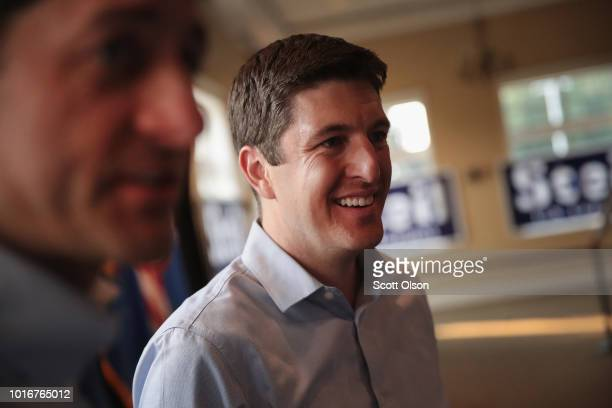 Speaker of the House Paul Ryan campaigns with Republican congressional candidate Bryan Steil during a rally on August 13 2018 in Burlington Wisconsin...