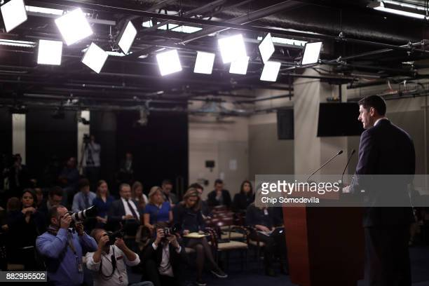 Speaker of the House Paul Ryan conducts his weekly news conference in the US Capitol Visitors Center November 30 2017 in Washington DC Ryan said he...