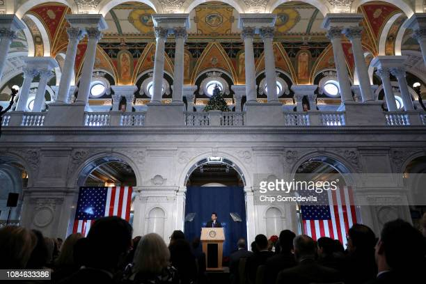 Speaker of the House Paul Ryan delivers a farewell address in the Great Hall of the Library of Congress Jefferson Building on Capitol Hill December...