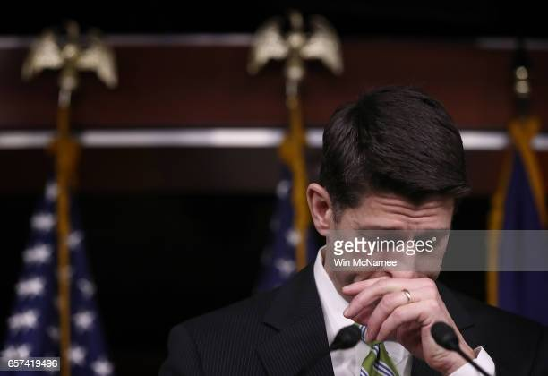 S Speaker of the House Paul Ryan delivers remarks at a press conference at the US Capitol after President Trump's healthcare bill was pulled from the...