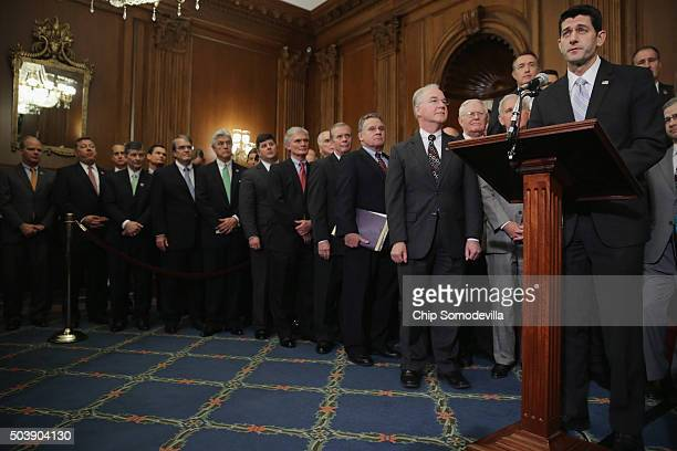 Speaker of the House Paul Ryan delivers remarks before signing legislation to repeal the Affordable Care Act also known as Obamacare and to cut off...