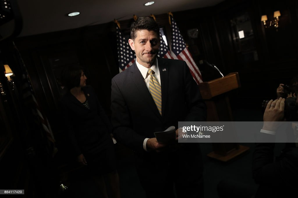 House Speaker Paul Ryan  Addresses The Media After Weekly Party Conference