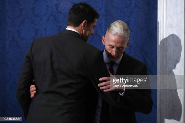 Speaker of the House Paul Ryan embraces Rep. Trey Gowdy before delivering a farewell address in the Great Hall of the Library of Congress Jefferson...