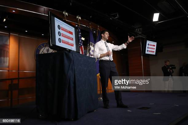 S Speaker of the House Paul Ryan explains the Republican plan to replace the Affordable Care Act during his weekly press conference at the US Capitol...