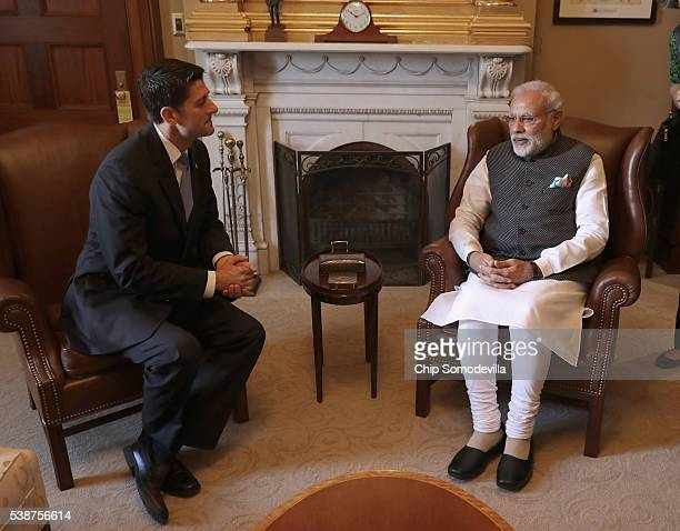 S Speaker of the House Paul Ryan greets and poses for photographs with Indian Prime Minister Narendra Modi in the Speaker's office in the US Capitol...
