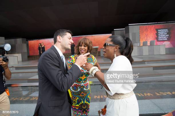 Speaker of the House Paul Ryan greets Oprah Winfrey and Gayle King at the opening of the National Museum of African American History and Culture...